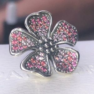 Pandora Big Peach Flower Blossom Charm